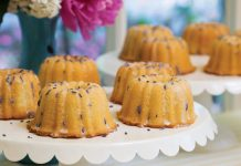 Mini Almond Bundt Cakes with Lavender Glaze