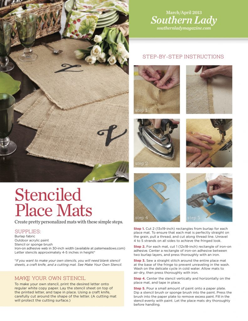 Make Stenciled Place Mats