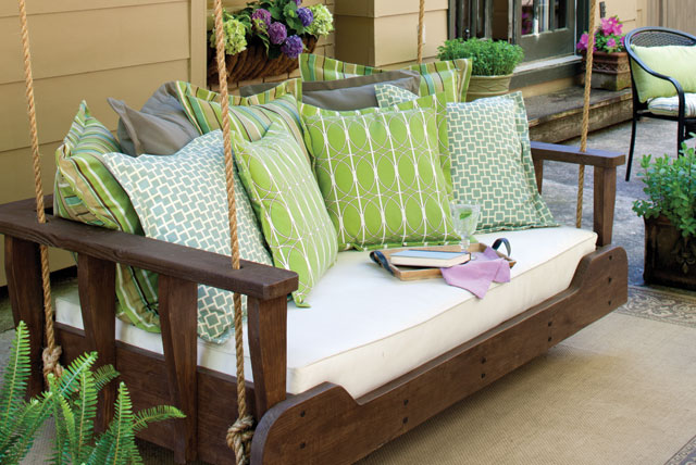 Spruce Up A Porch Swing With Pillows Southern Lady Mag