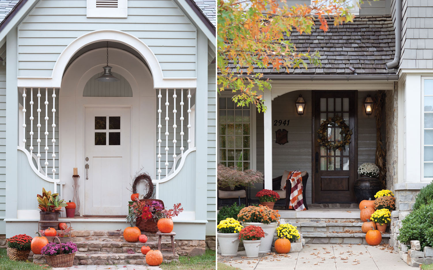 A picture of pumpkins on porches