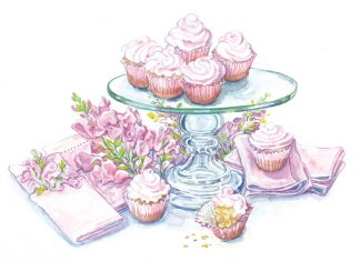 Water color illustration of cupcakes on a cake stand