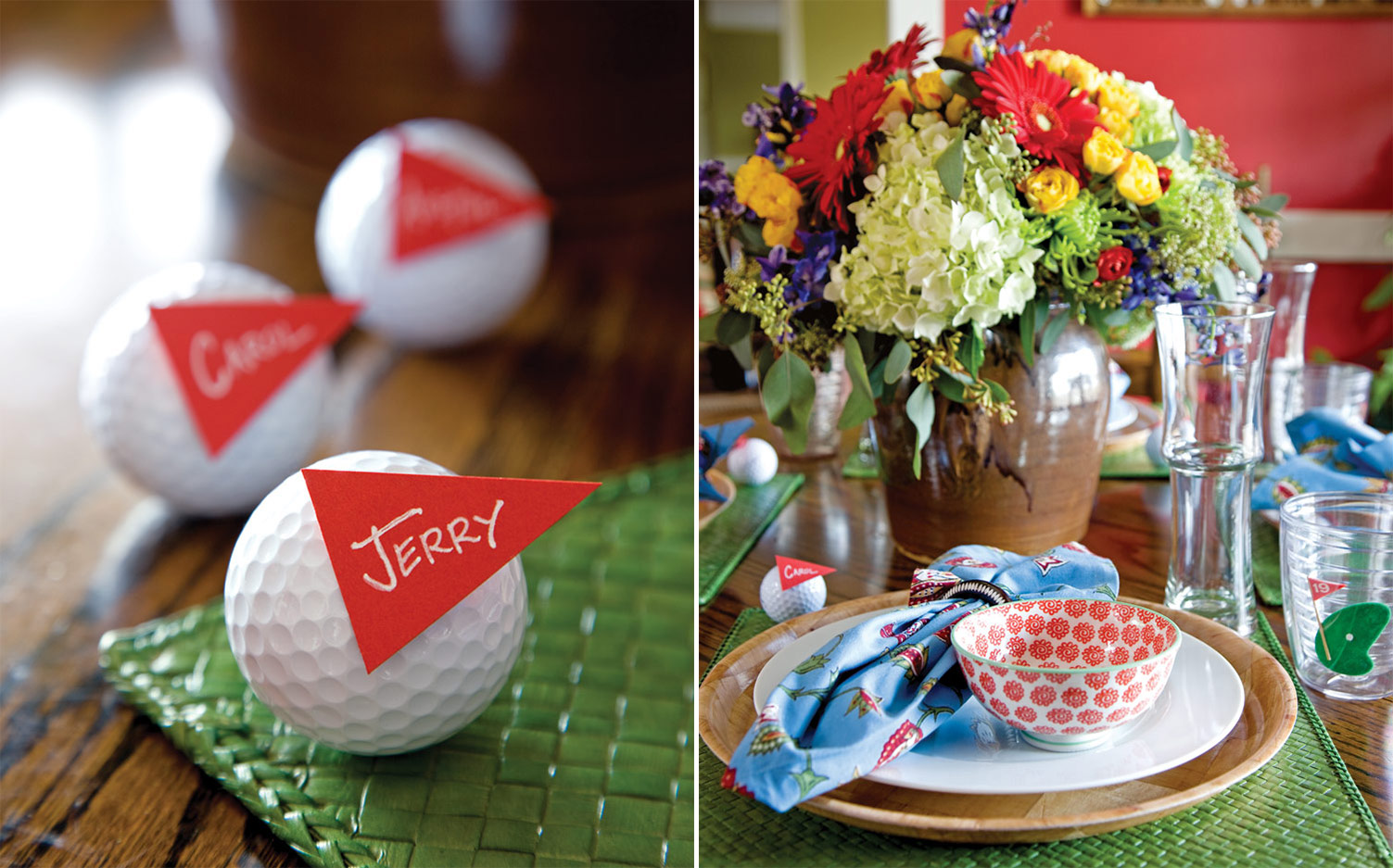 Photo of golf tee place card and place setting