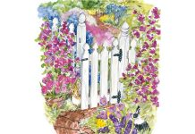 Watercolor illustration of a garden gate