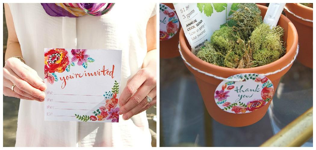 photo of garden invites and thank you printables