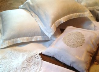 Photo of DIY pillows made from heirloom napkins
