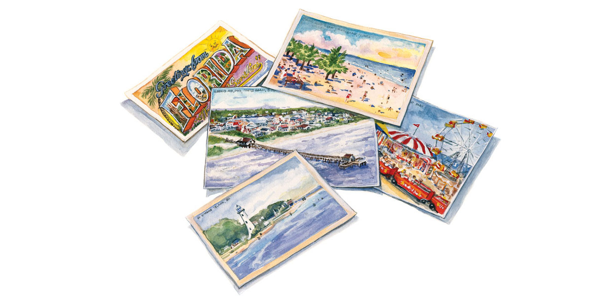 Watercolor illustration of postcards