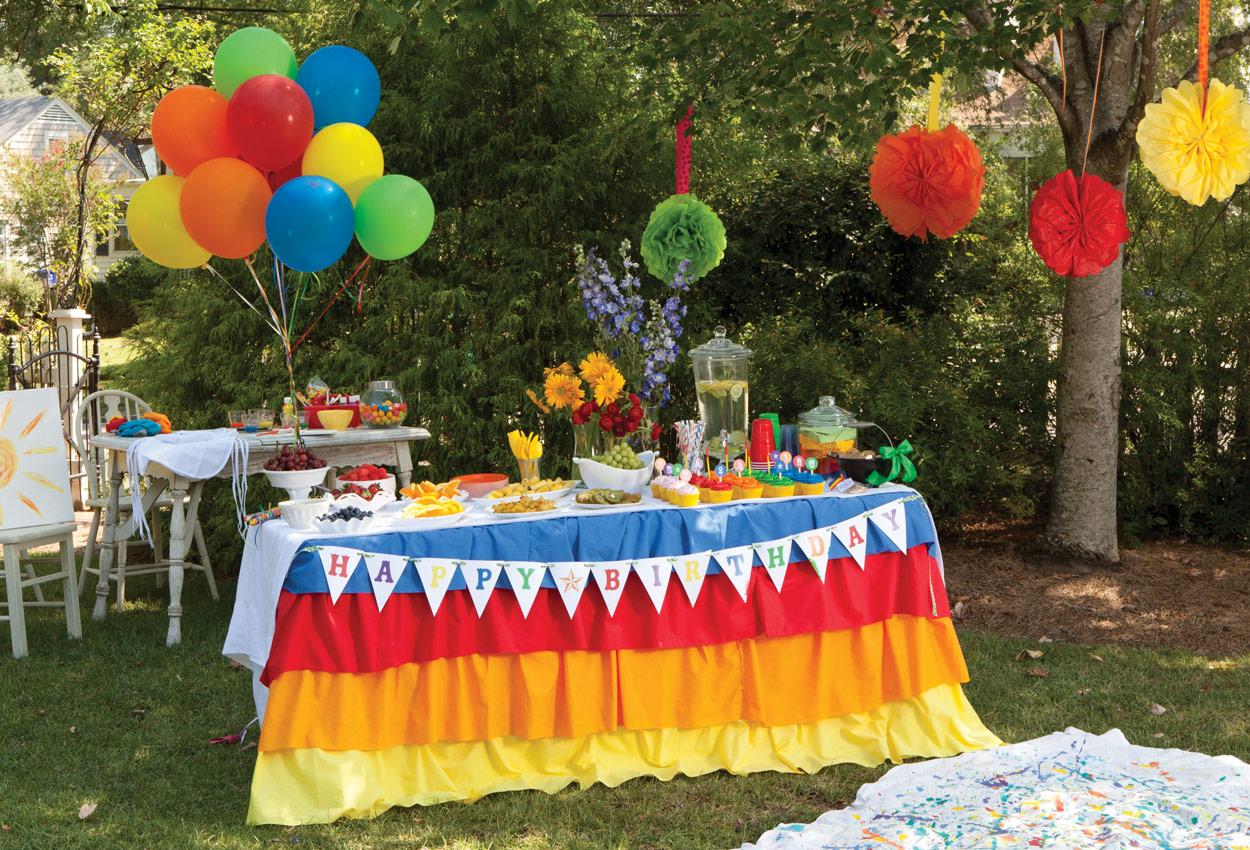 Photo of a rainbow birthday party