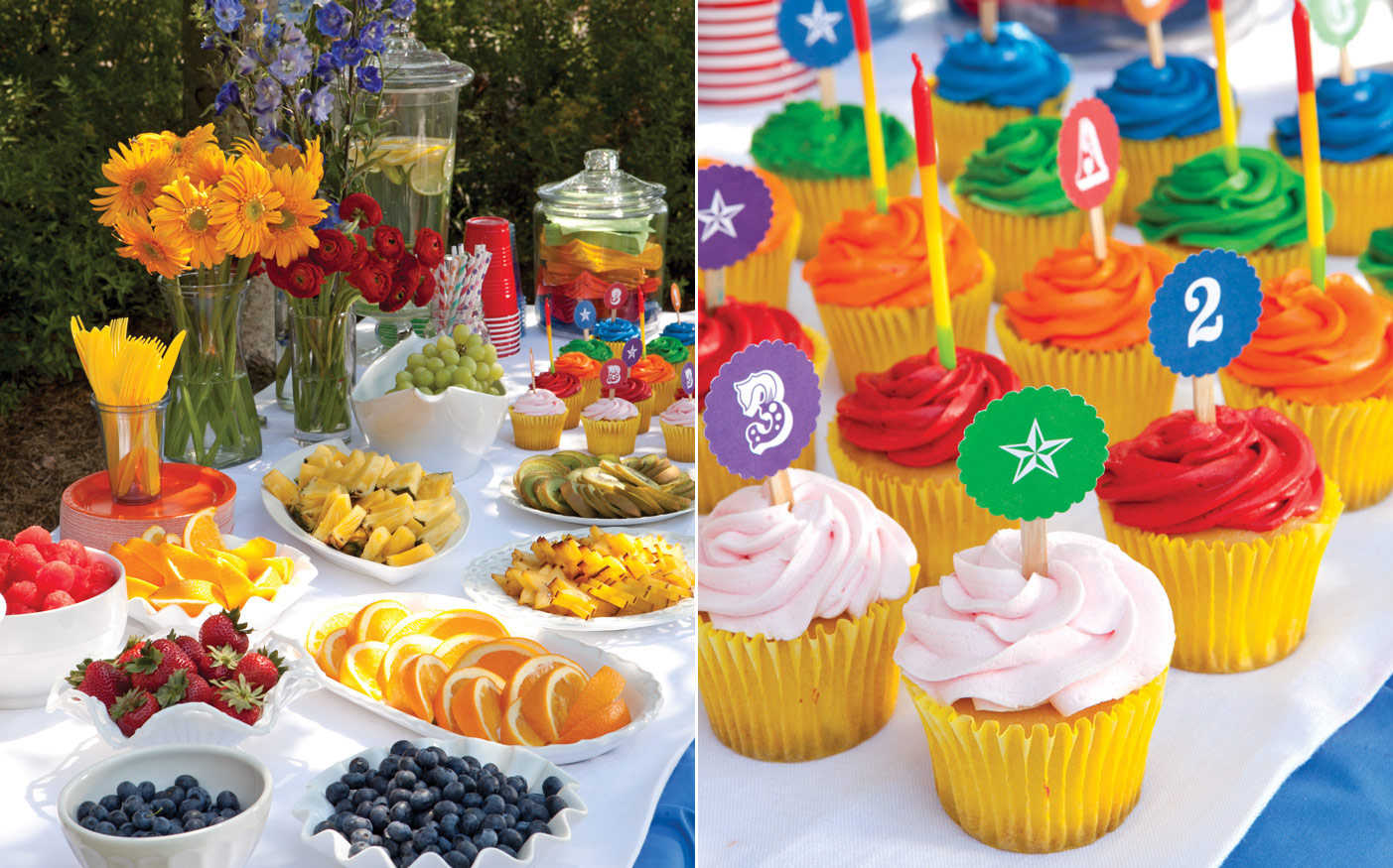 Food and cupcakes at a rainbow birthday party