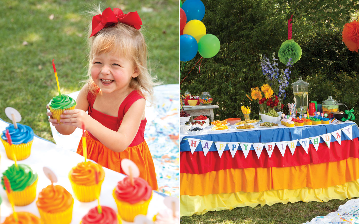 Photo of a child with a cupcake and table at a rainbow birthday party