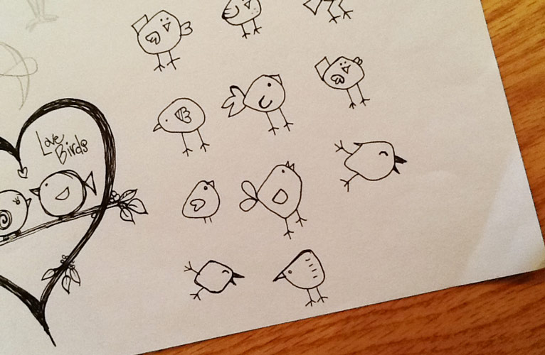 Sketches of small cartoon birds