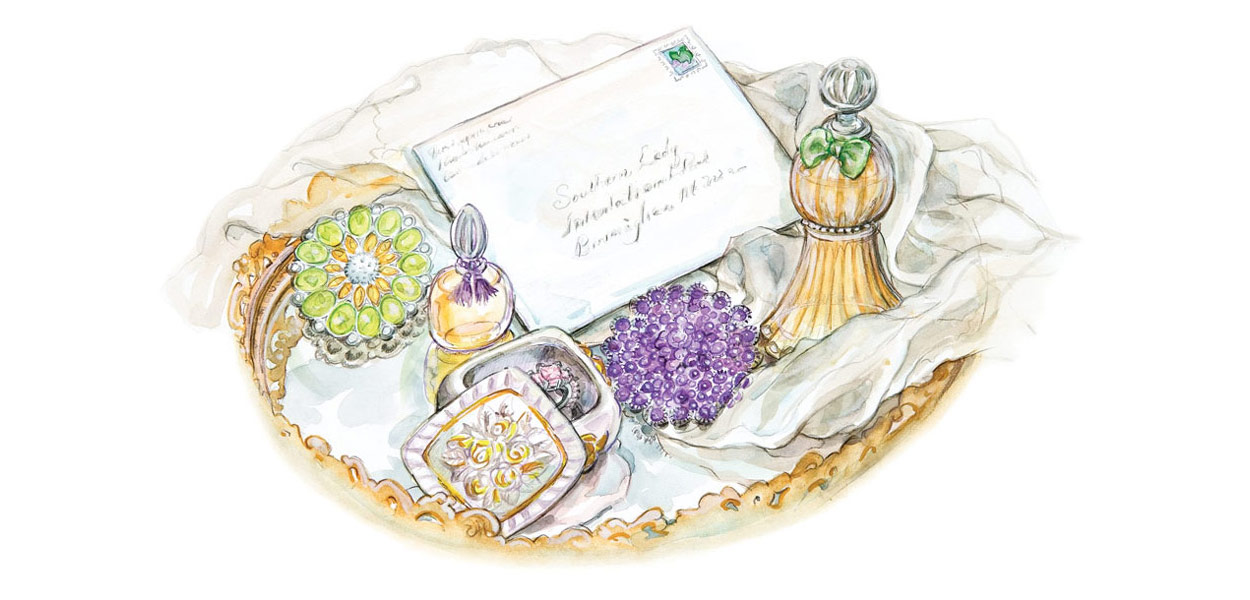 Watercolor illustration of a vanity tray