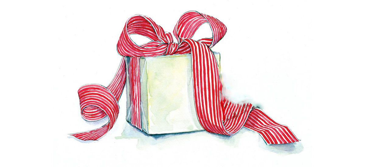 Watercolor illustration of a wrapped gift
