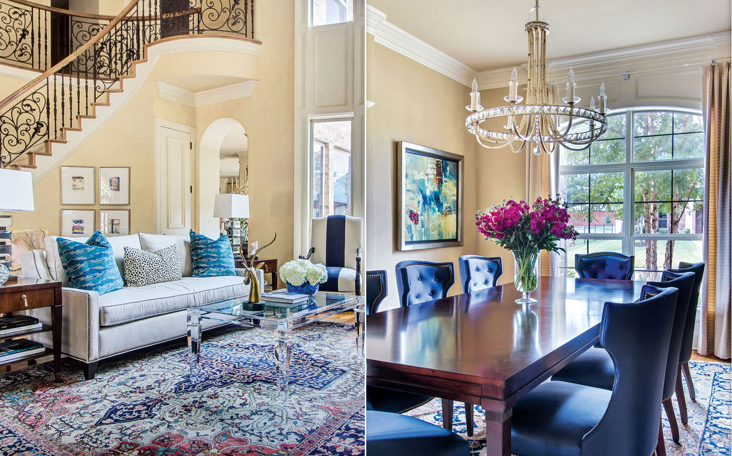 of a living room with blue decor and a dining room with blue chairs
