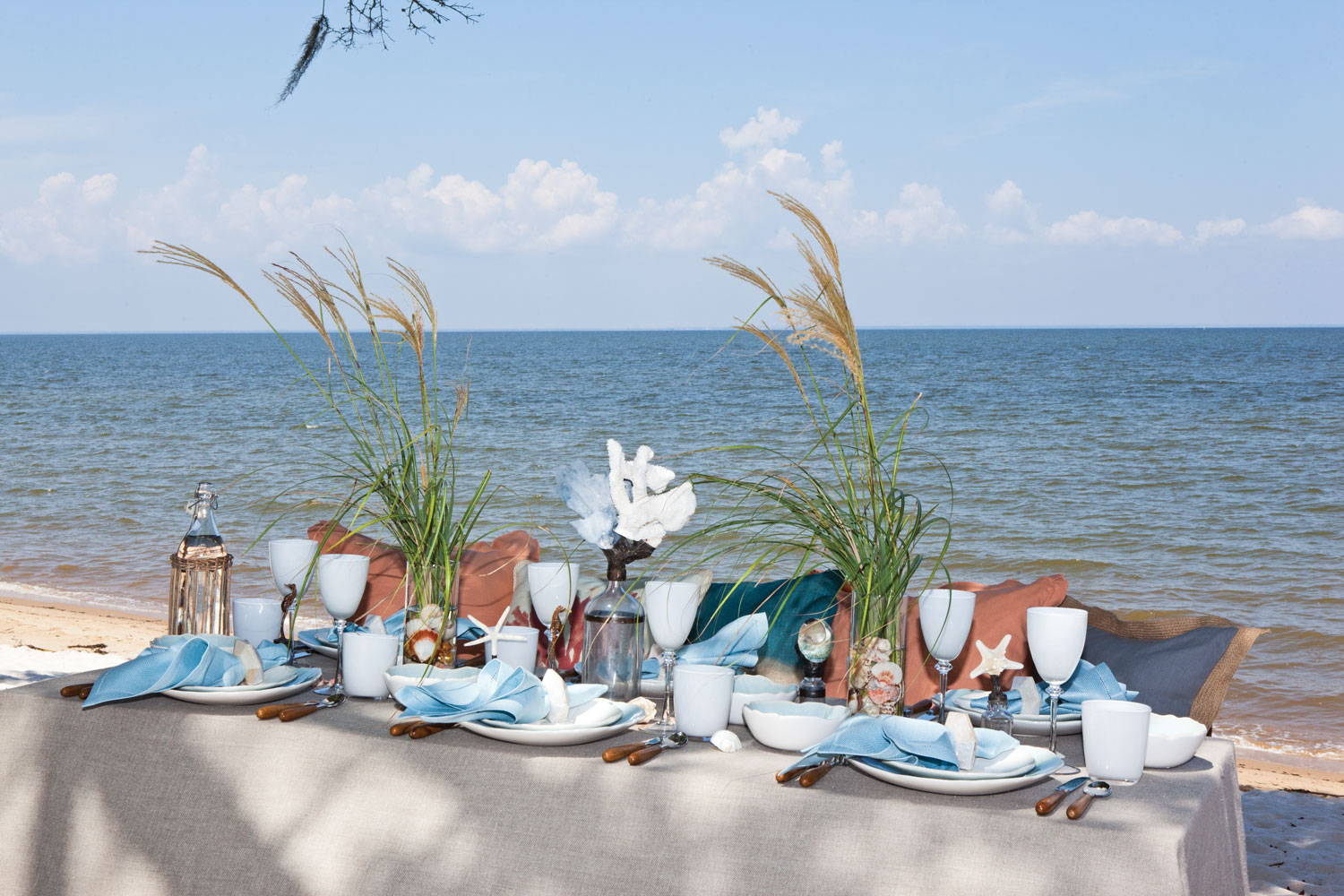 A picture of a table setting inspired by the sea