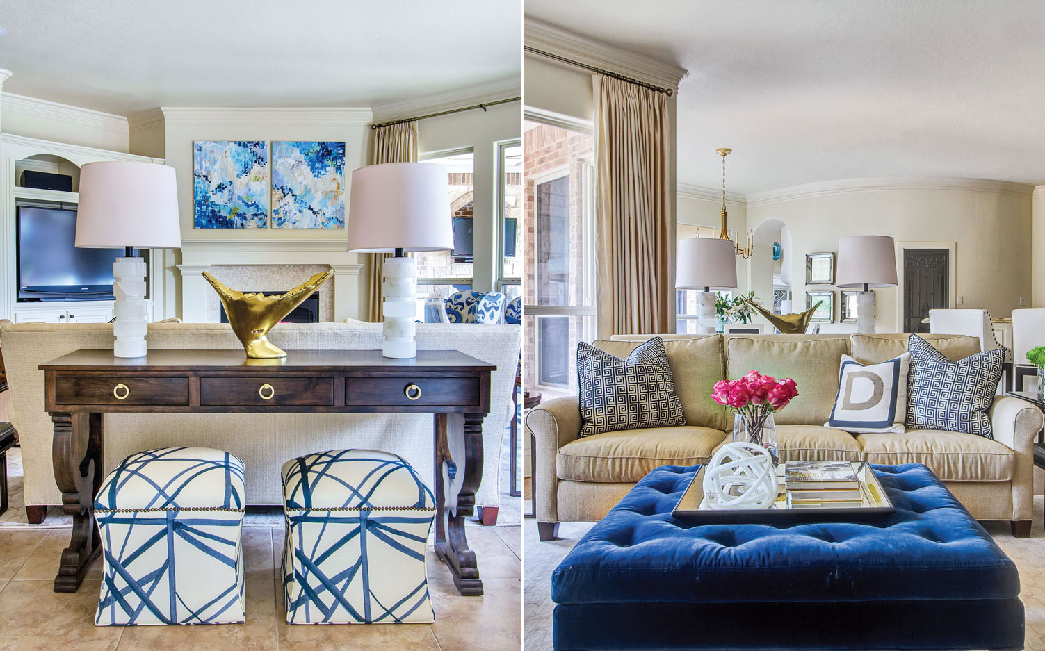 A photo of a living room with blue decor