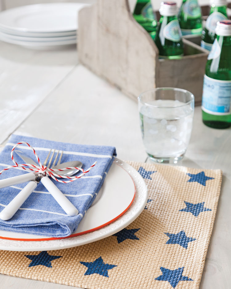 A photo of a Fourth of July table setting