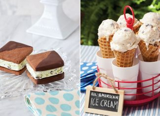 A photo of mint chocolate chip ice cream sandwiches and all-American ice cream cones