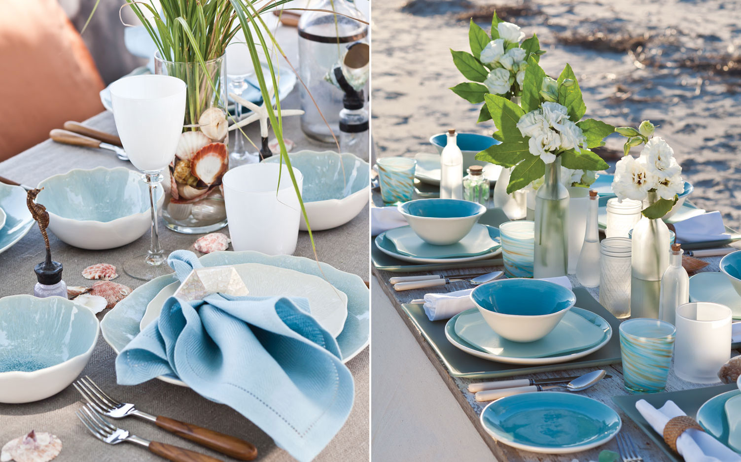 A picture of table settings inspired by the sea