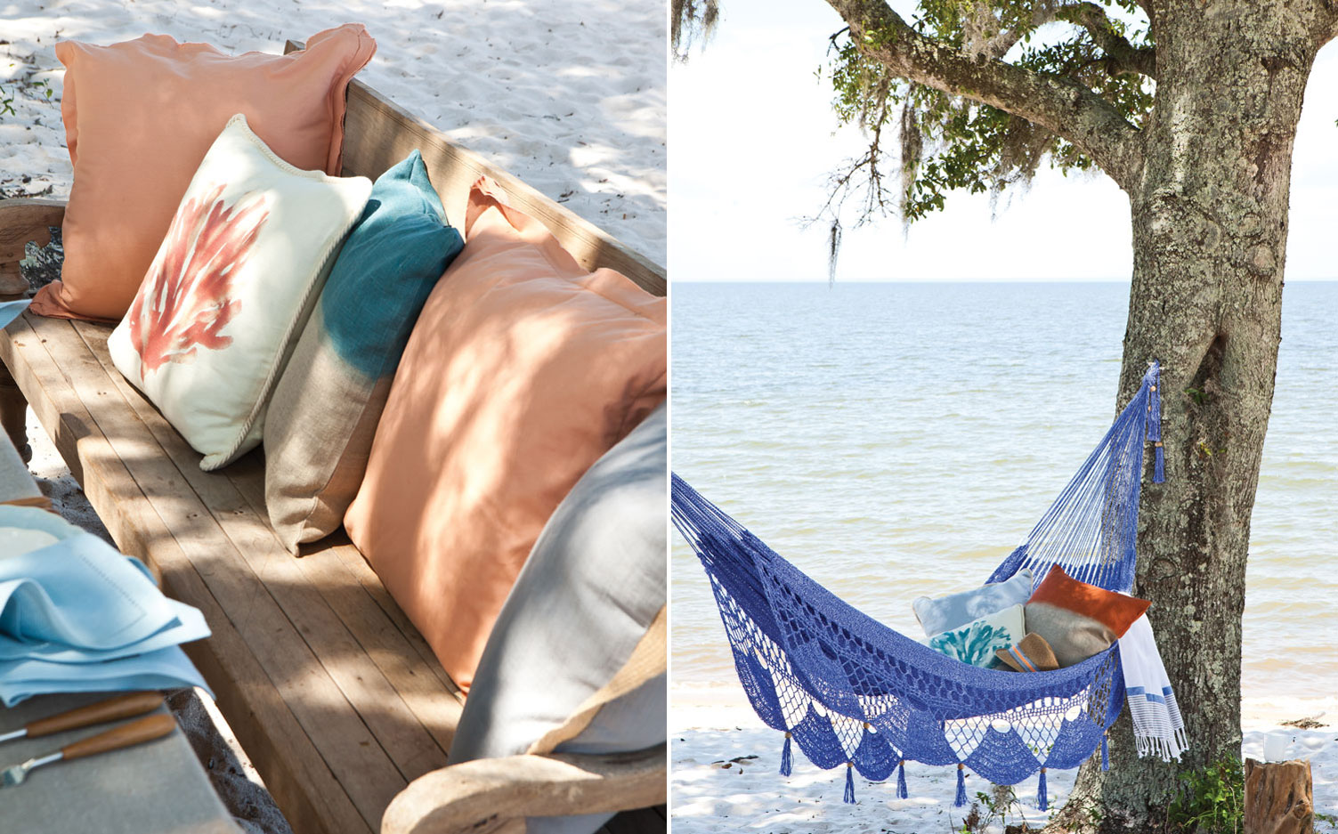 A picture of pillows on a bench on the beach and a picture of a hammock and pillows on the beach