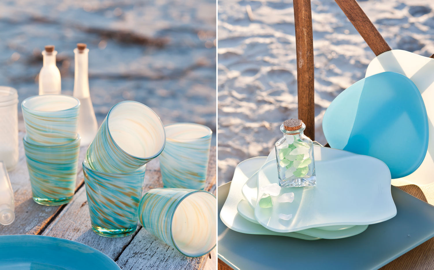 A picture of blue and green cups inspired by the sea and a picture of blue and white plates inspired by the sea