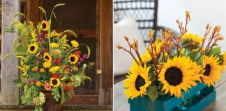 A photo of sunflowers in mason jars and a wooden crate and a fall flower arrangement with sunflowers