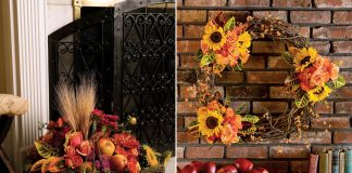 A photo of a grapevine wreath with sunflowers and a fireside basket with sunflowers