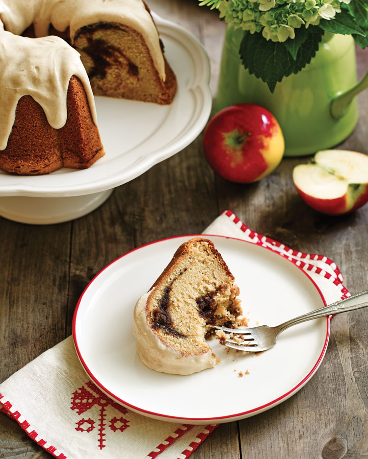 A photo of a slice of Apple Butter Pound Cake