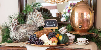 A picture of a buffet set up for a Thanksgiving meal