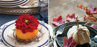 A picture of mini pumpkin table setting arrangements
