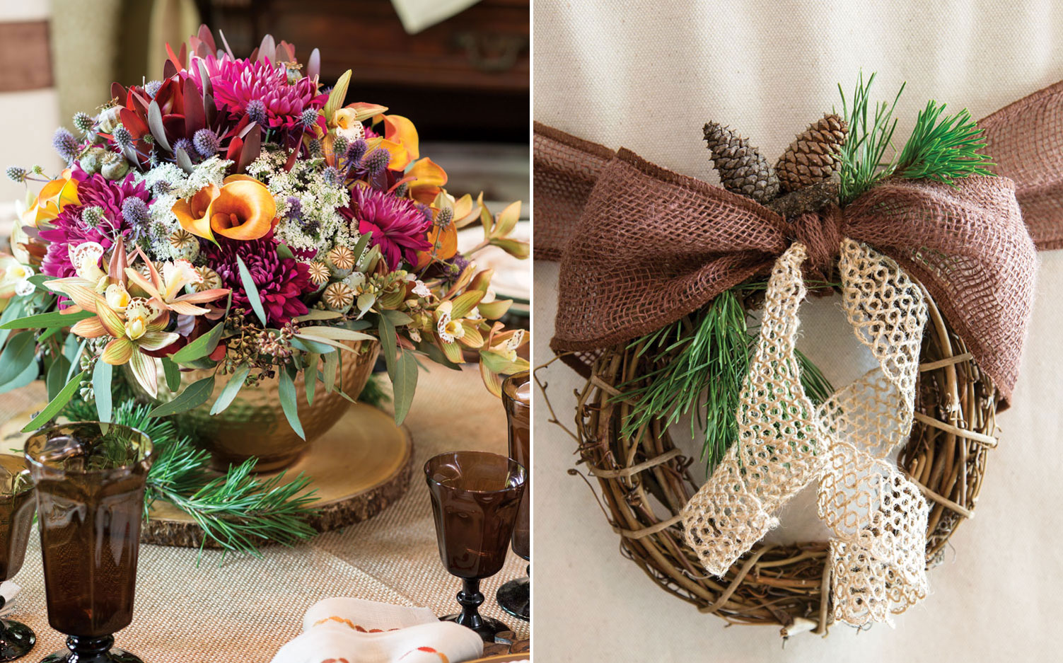 A picture of a flower arrangement and a grapevine wreath attached to a chair for a Thanksgiving tablescape