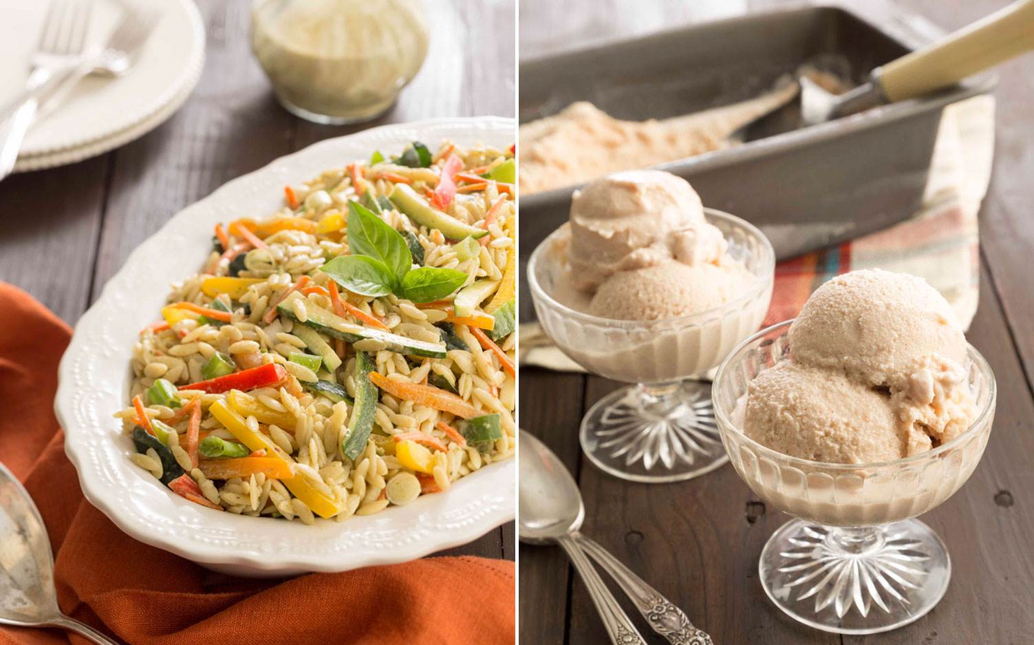 A picture of Orzo and Vegetable Salad with Garlic Basil Cashew Butter and Peanut Butter Ice Cream