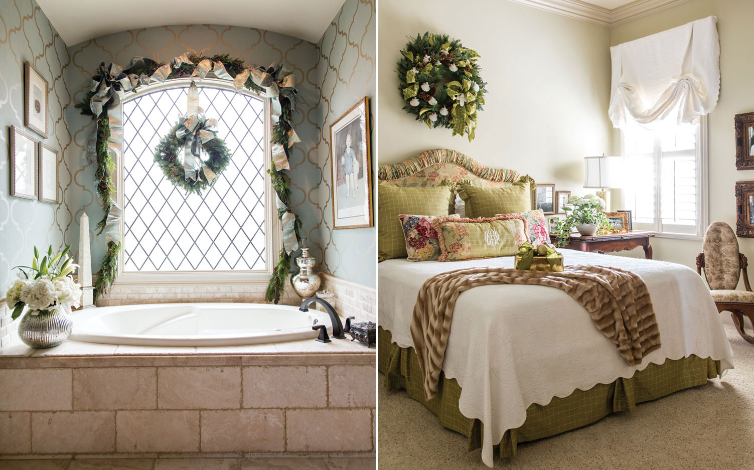 A picture of a bedroom and bathroom decorated for Christmas