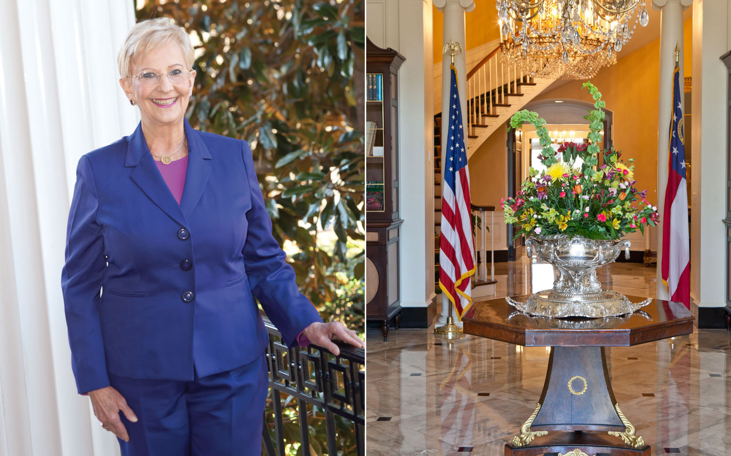 A photo of Georgia First Lady Sandra Deal and the inside of the Governor's Mansion in Atlanta