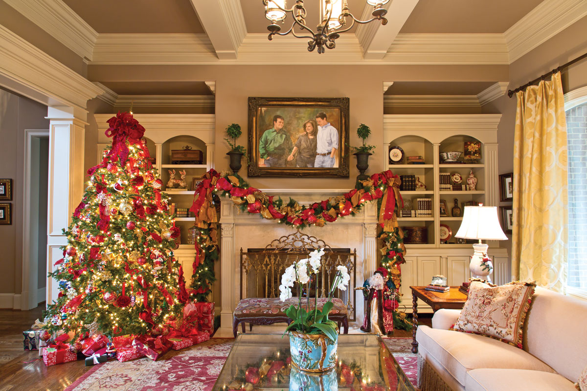 A picture of a living room decorated for Christmas