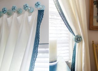 A picture of blue and white lace curtains