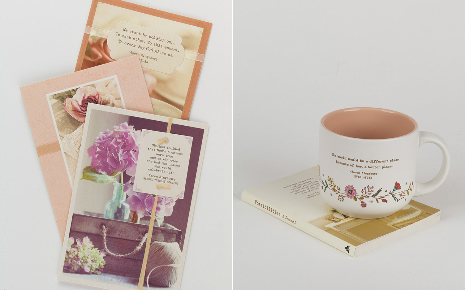A picture of best-selling author Karen Kingsbury and daughter Kelsey Kupecky's greeting card and gift line, Possibilities