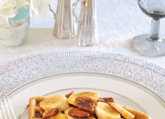 Fred Baby's Pecan Waffles with Bananas Foster Topping