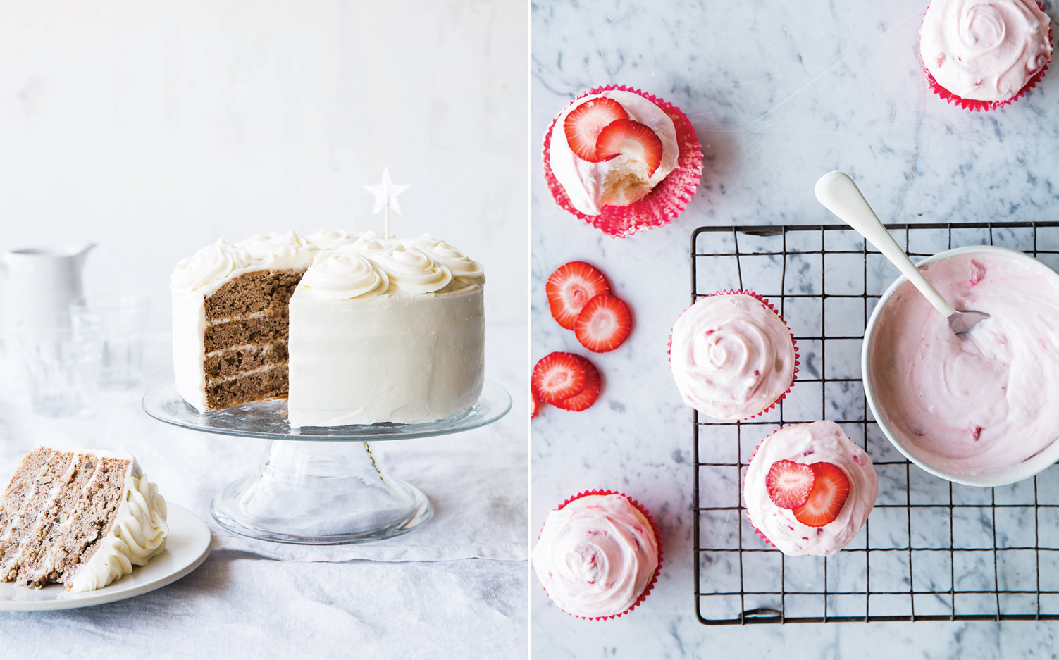 Pictures of cake and cupcakes from Catherine Ruehle's cookbook Let Us All Eat Cake