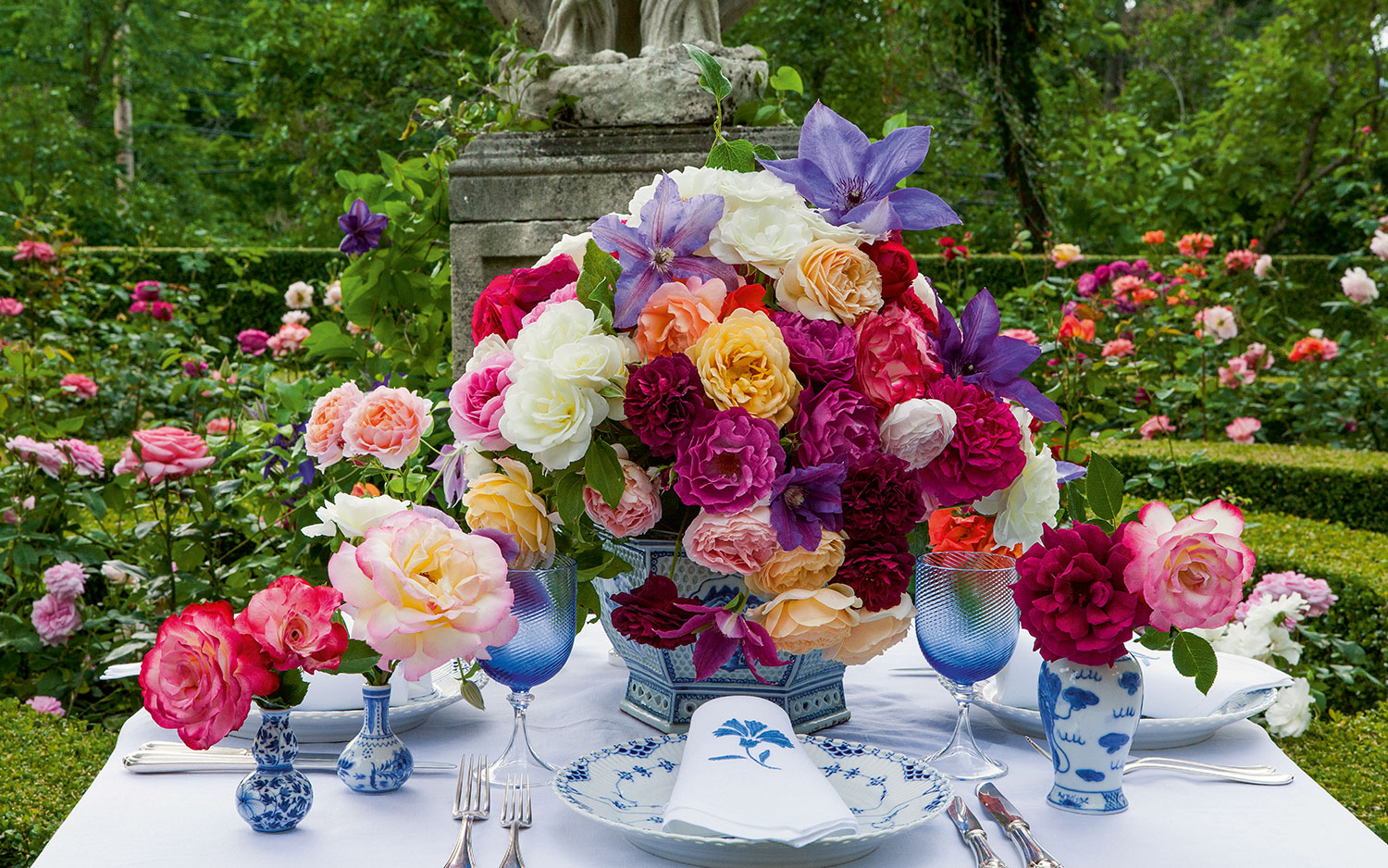 A photo of a table setting in Carolyne Roehm's garden.