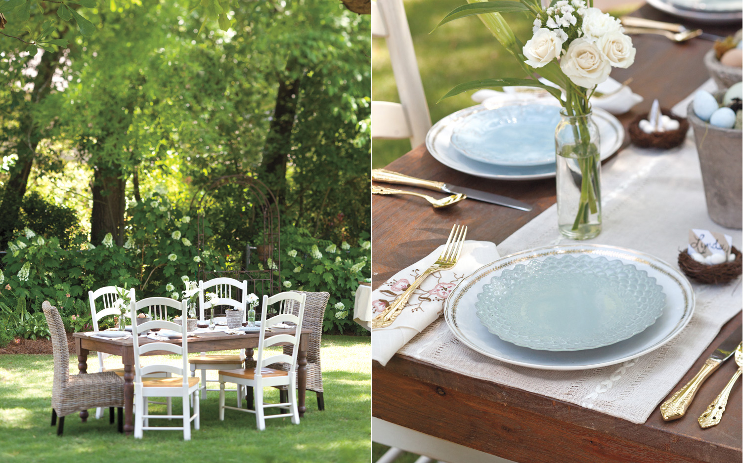 A picture of an alfresco Easter luncheon spread