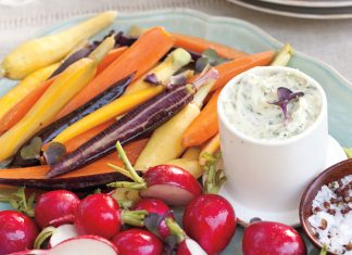 A picture of Southern Lady magazine's Vegetable Crudités with Herb Butter