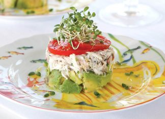 A picture of a crab, tomato, and avocado tower for Southern Lady Magazine