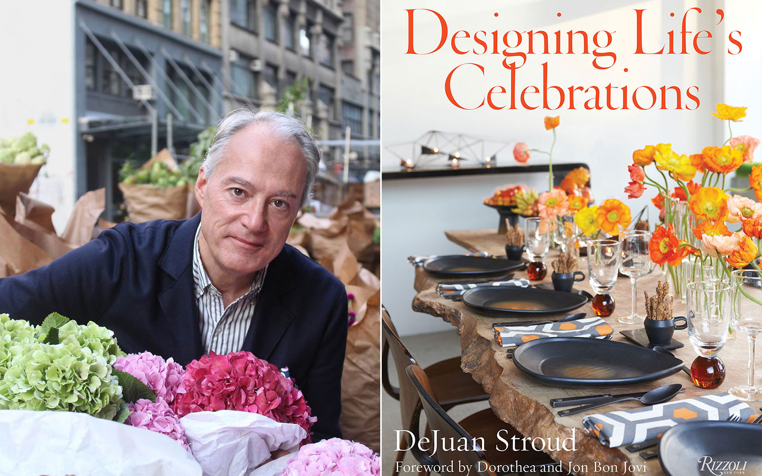A photo of DeJuan Stroud and the cover of Designing Life's Celebrations. Author's photograph by Emily Goodnight. Book photography by Monica Buck.