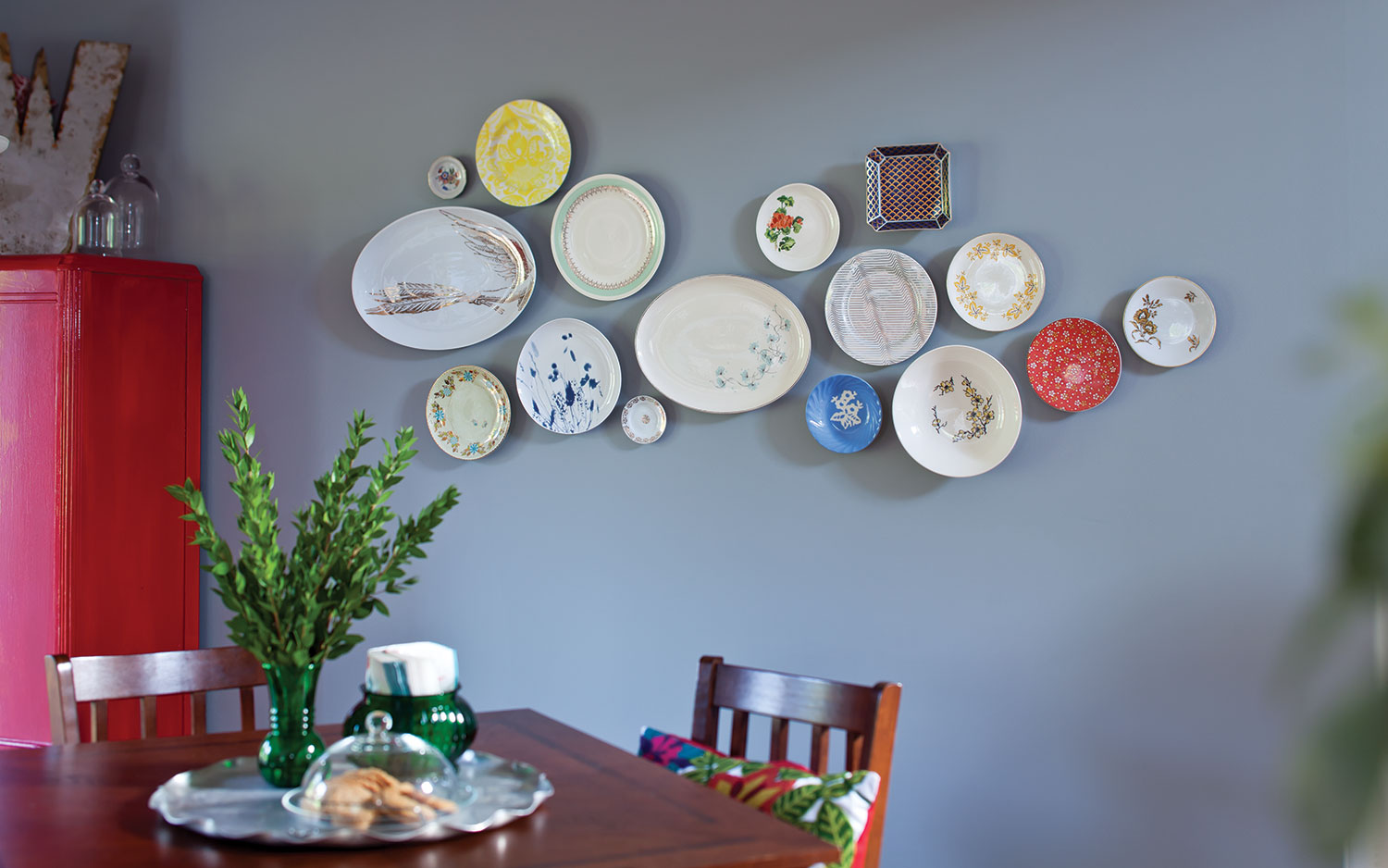 A picture of a wall grouping of plates