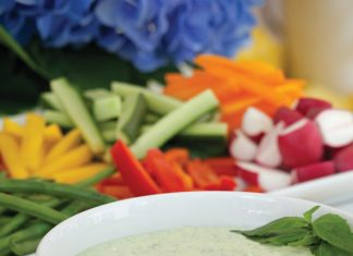 A picture of Creamy Basil Dip on the front porch