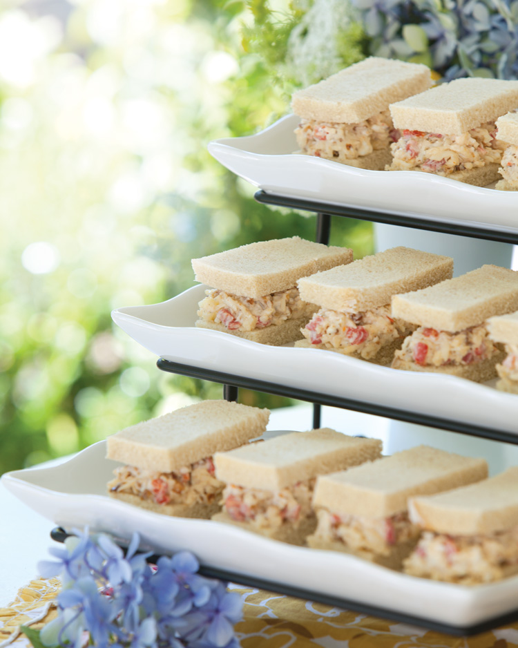 A picture of Pimiento Cheese tea sandwiches