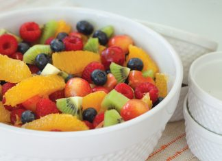 A picture of Fruit Salad in Orange Syrup on the front porch