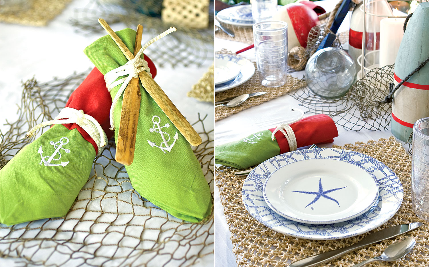 A picture of a table setting with a nautical theme.