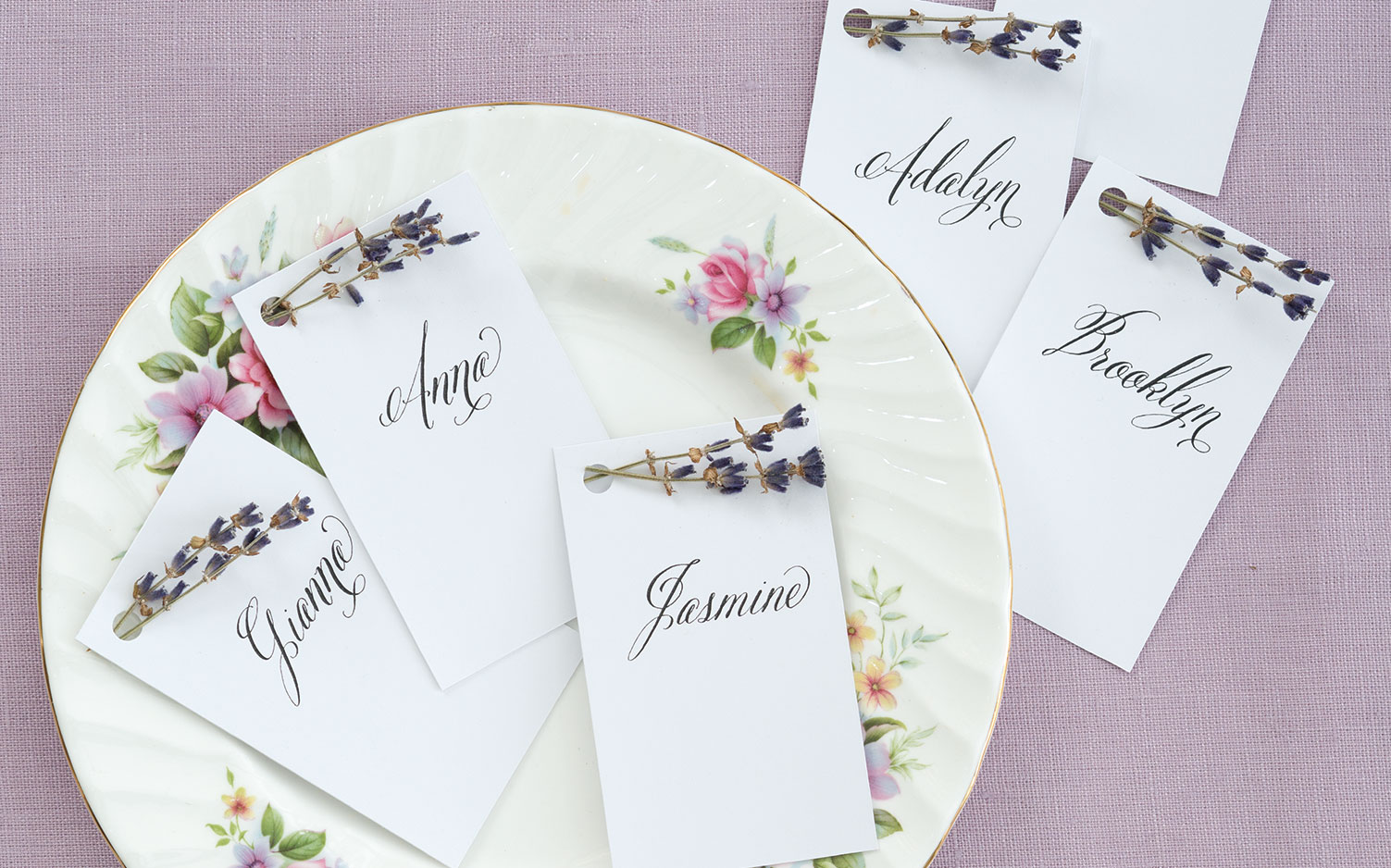 Spring entertaining ideas, lavender place cards