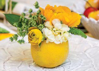 Spring entertaining ideas, lemon vase